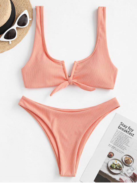 ZAFUL Traje de Baño Acanalado con Nudo y Cable - Rosa Naranja L Mobile