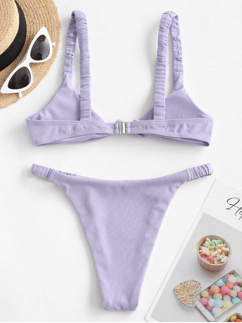 Bikini de Canalé con Nudo Elástico ZAFUL - Azul Lavanda L Mobile