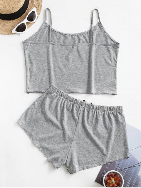 Pijama de Tirante Fino con Nudo de Lazo - Gris L Mobile