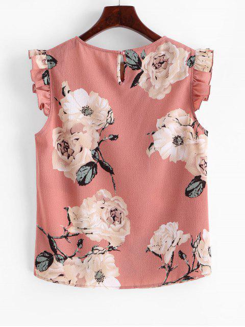 womens ZAFUL Keyhole Back Ruffled Floral Blouse - MULTI-B S Mobile