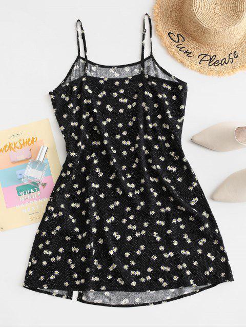 best ZAFUL Daisy Floral Slit Cami Mini Dress - BLACK M Mobile