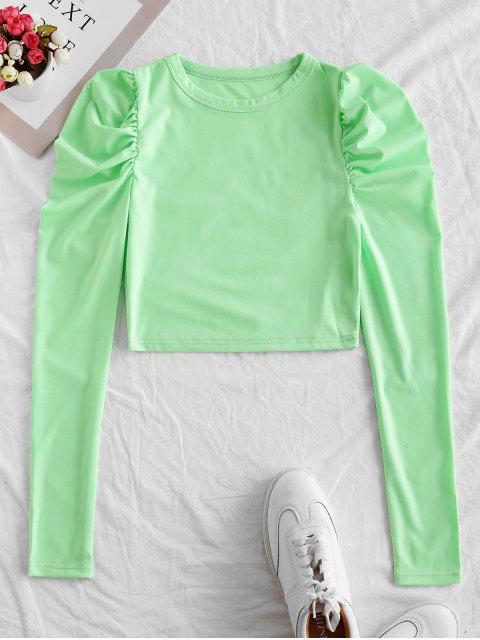 T-shirt Court Simple à Manches Bouffantes - Vert M Mobile