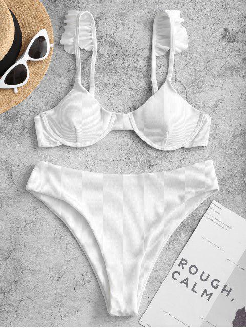 ZAFUL Bikini Bademode mit Rüschen und Bügel - Weiß S Mobile
