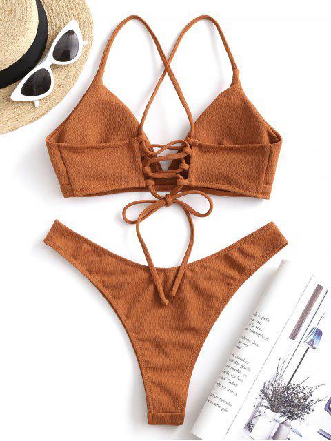 buy ZAFUL Textured Lace-up High Leg Bikini Swimsuit - RUST S Mobile