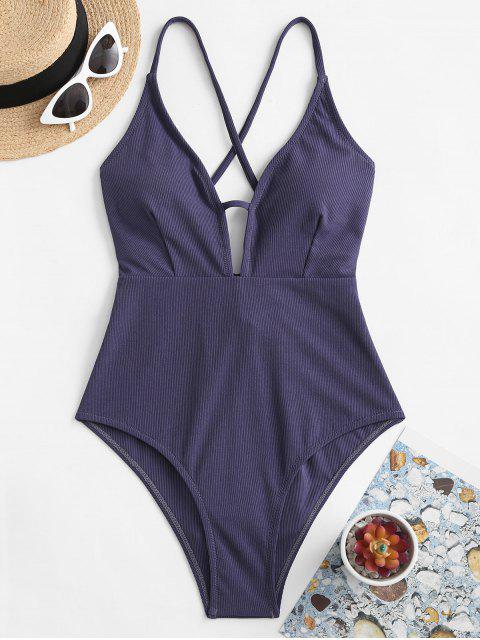 best ZAFUL Back Crisscross Ribbed One-piece Swimsuit - SLATE BLUE S Mobile