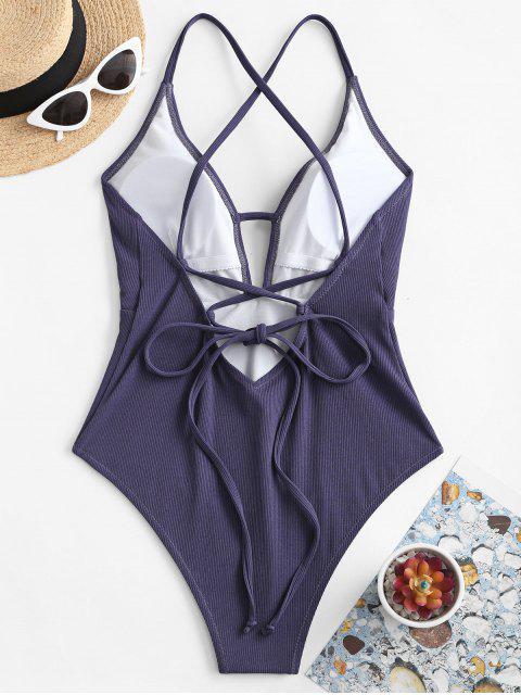 ZAFUL العودة تقاطعات مضلع من قطعة واحدة ملابس السباحة - لائحة الأزرق S Mobile