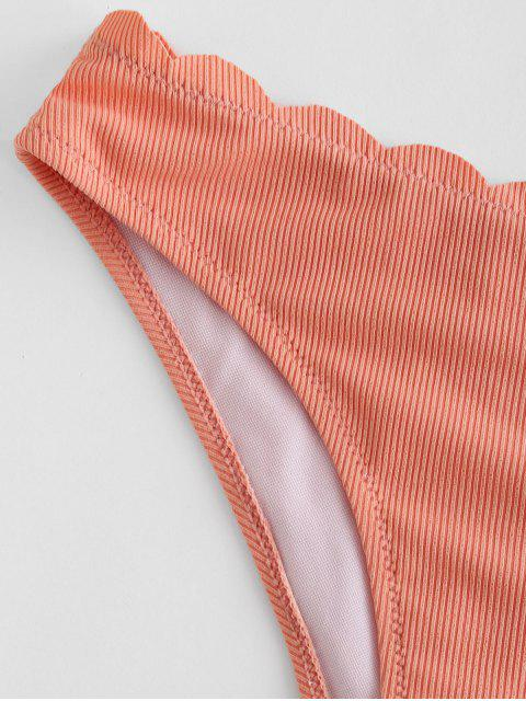 women's ZAFUL Scalloped Ribbed Bikini Bottom - ORANGE PINK S Mobile