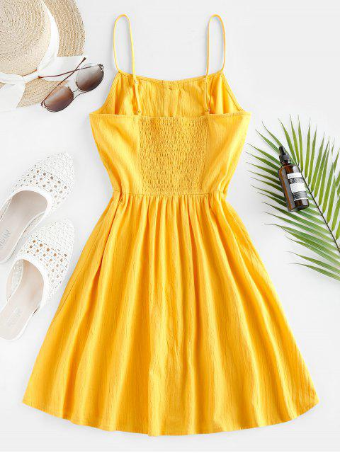 trendy ZAFUL Button Up Shirred Cami Pocket Dress - SUN YELLOW M Mobile
