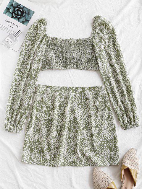 fashion ZAFUL Twist Shirred Leaf Print Two Piece Dress - LIGHT GREEN S Mobile