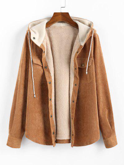 Corduroy Hooded Fleece Lining Jacket - Brown Xl