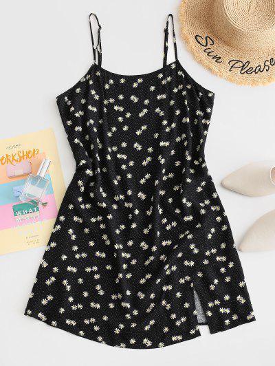ZAFUL Daisy Floral Slit Cami Mini Dress - Black L