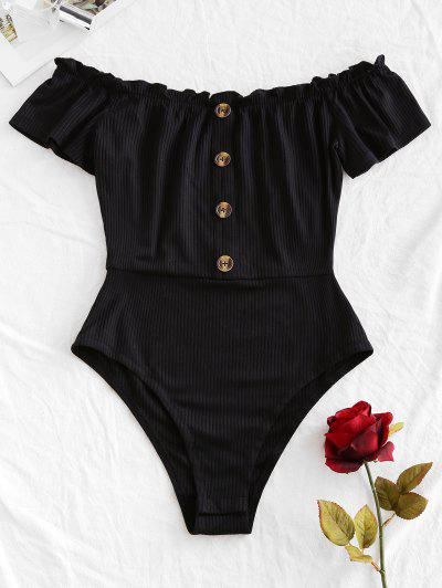 ZAFUL Frilled Ribbed Off The Shoulder Bodysuit - Black M