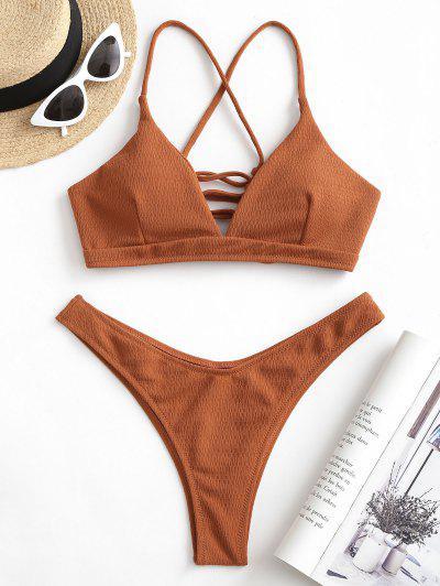 ZAFUL Textured Lace-up High Leg Bikini Swimsuit - Rust M