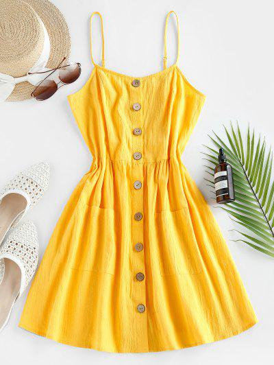 ZAFUL Button Up Shirred Cami Pocket Dress - Sun Yellow S