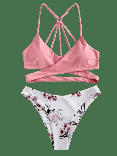 ZAFUL Floral Strappy Wrap Bikini Swimsuit