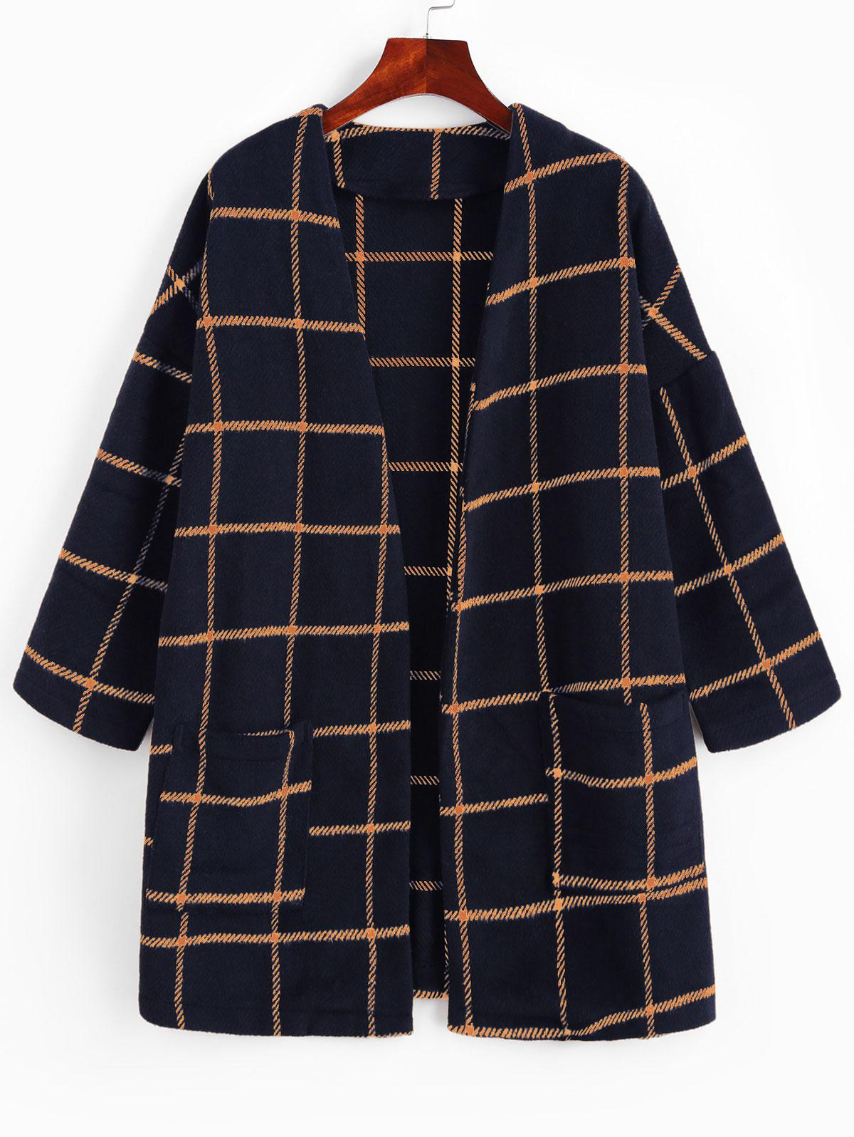 ZAFUL Patched Pockets Open Front Plaid Longline Coat