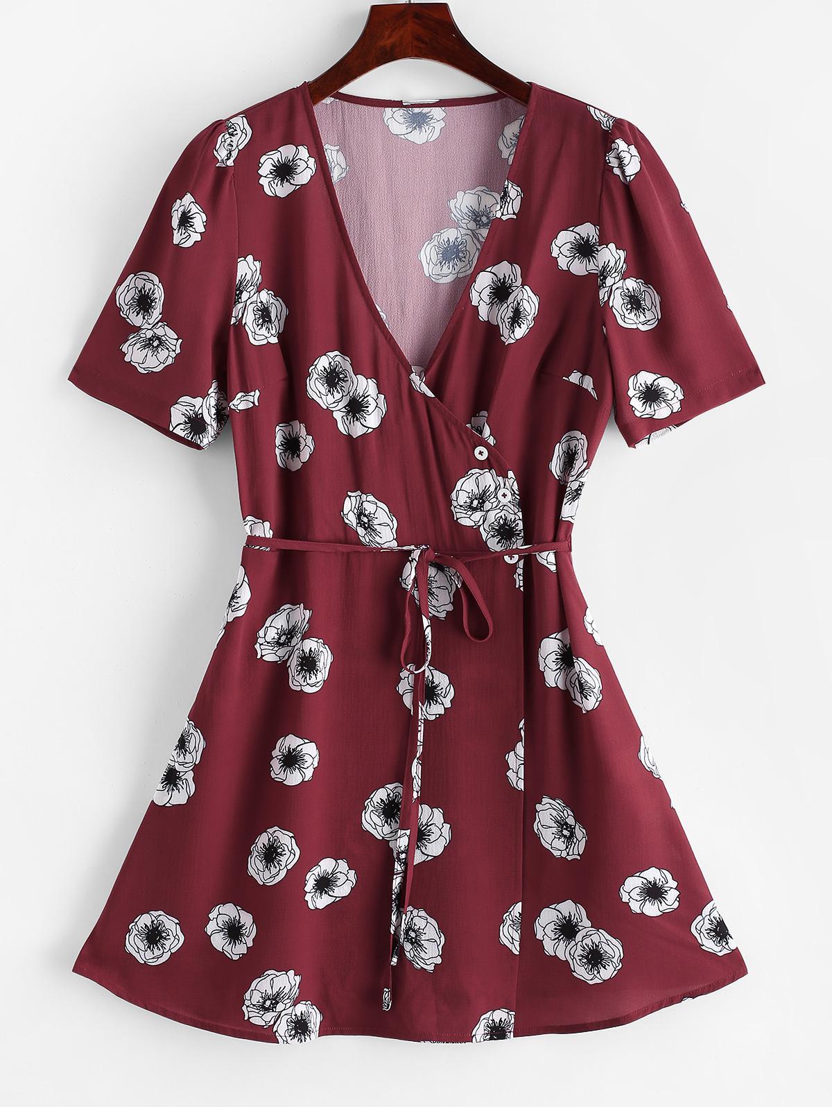 ZAFUL Flower Surplice Overlap String Belted Dress