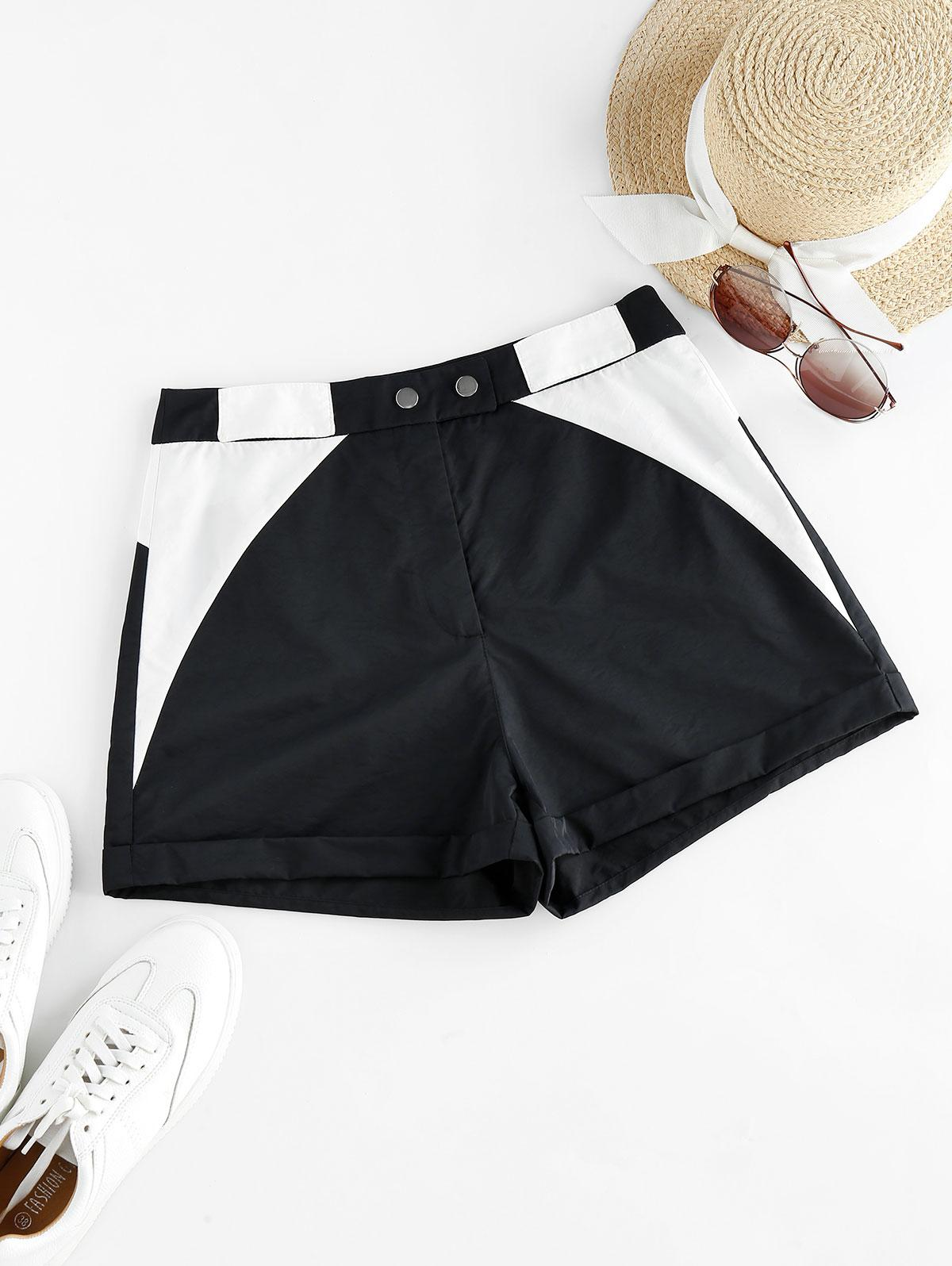ZAFUL Two Tone Cuffed Zip Fly Shorts