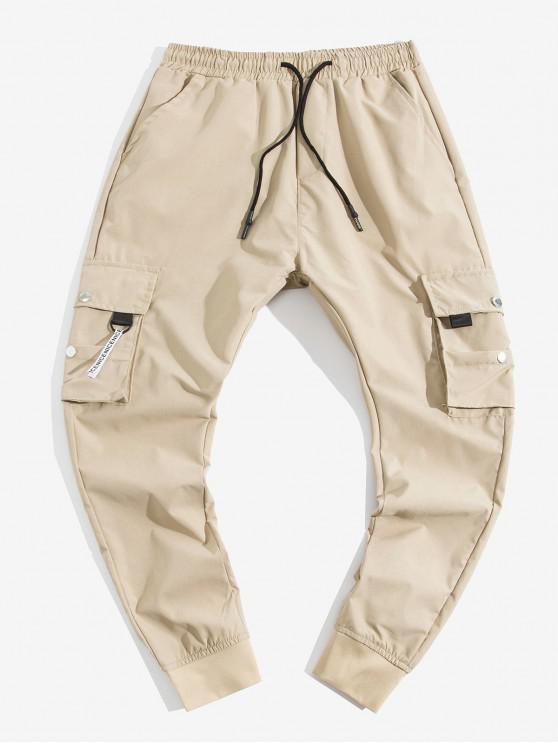 Pantaloni de buzunar decorare elastic talie jogger - Lumina Khaki 2XL