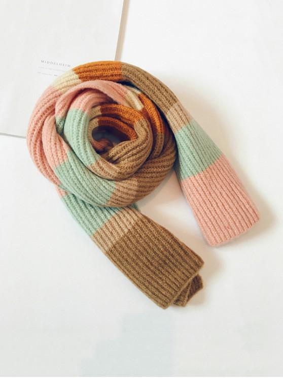 outfit Striped Color-blocking Knitted Long Scarf - PINK