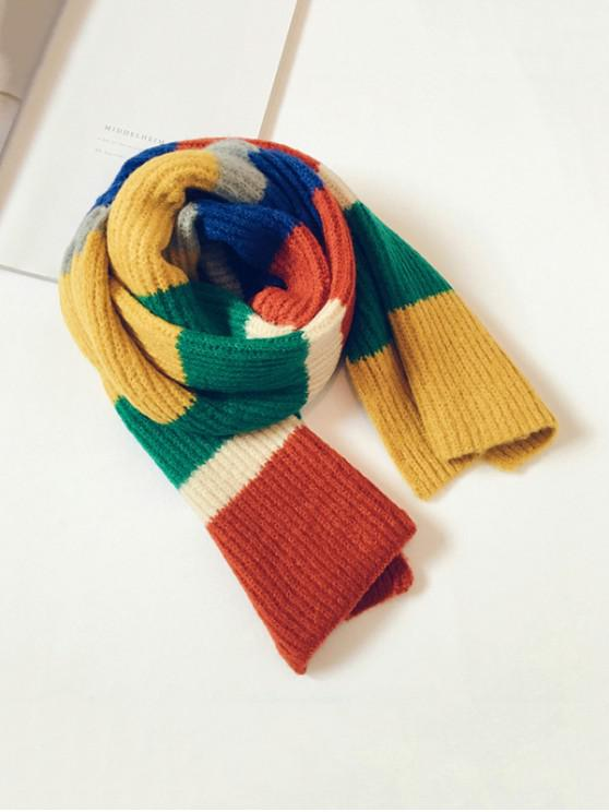 outfits Striped Color-blocking Knitted Long Scarf - TIGER ORANGE