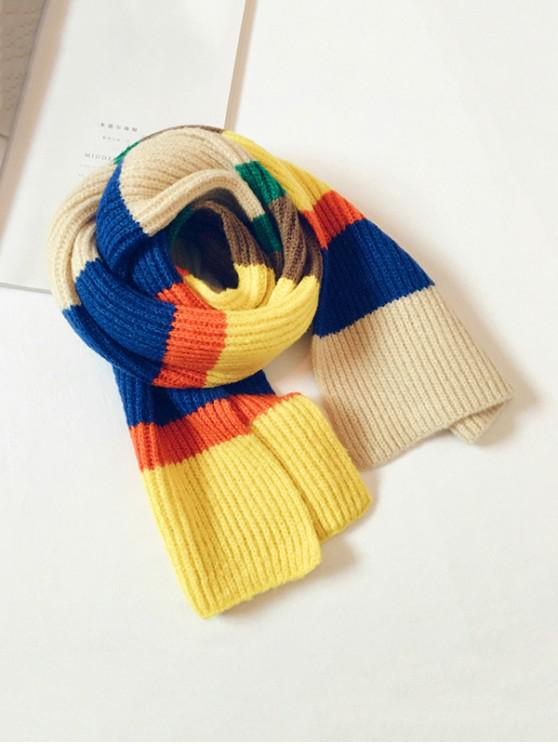 shop Striped Color-blocking Knitted Long Scarf - YELLOW