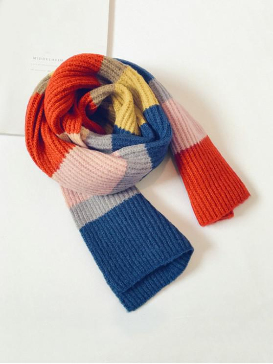 chic Striped Color-blocking Knitted Long Scarf - BLUE