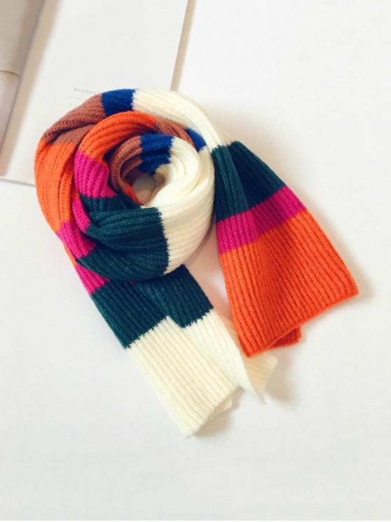 unique Striped Color-blocking Knitted Long Scarf - WHITE