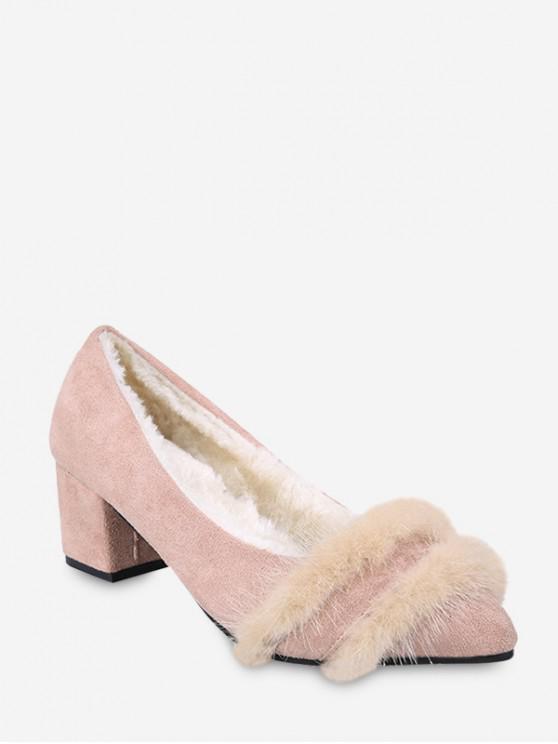 women Fuzzy Panel Pointed Toe Chunky Heel Pumps - LIGHT PINK EU 34