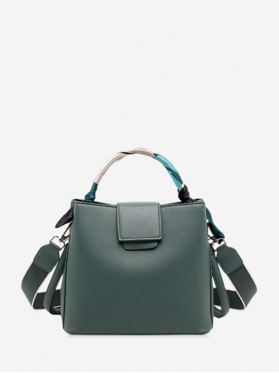 簡單固體絲帶點綴手袋 - 中等海綠色