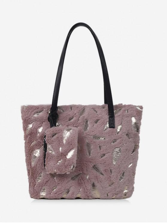 chic Feather Plush Shoulder Tote Bag - PINK