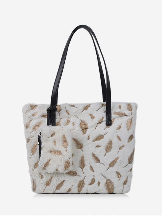 buy Feather Plush Shoulder Tote Bag - WHITE