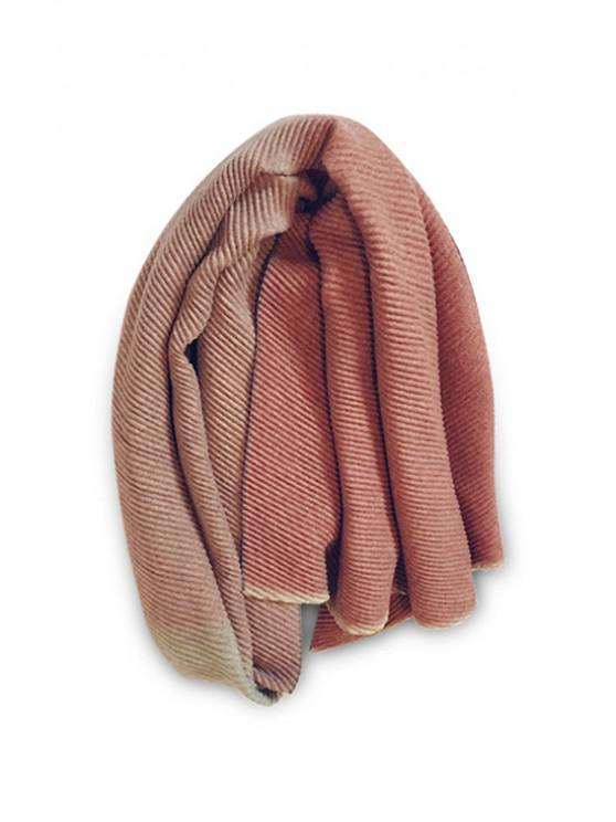 women Gradient Striped Crinkle Long Scarf - CHERRY RED