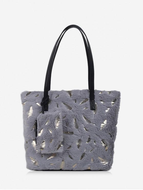 women's Feather Plush Shoulder Tote Bag - GRAY