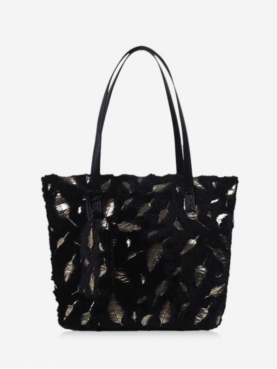ladies Feather Plush Shoulder Tote Bag - BLACK