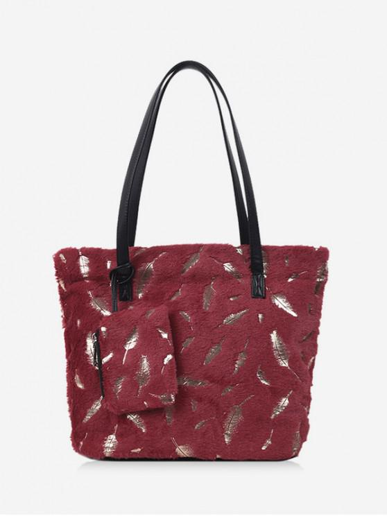online Feather Plush Shoulder Tote Bag - RED