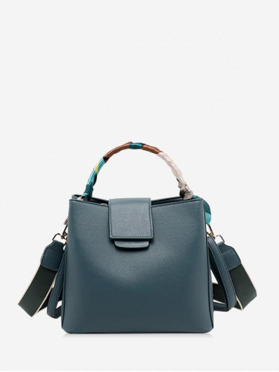 outfits Simple Solid Ribbon Embellished Handbag - PEACOCK BLUE