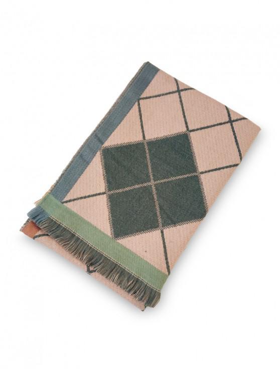 buy Argyle Pattern Fringe Long Scarf - PINK