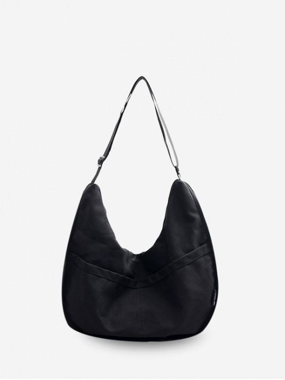 latest Solid Shoulder Canvas Dumpling Bag - BLACK