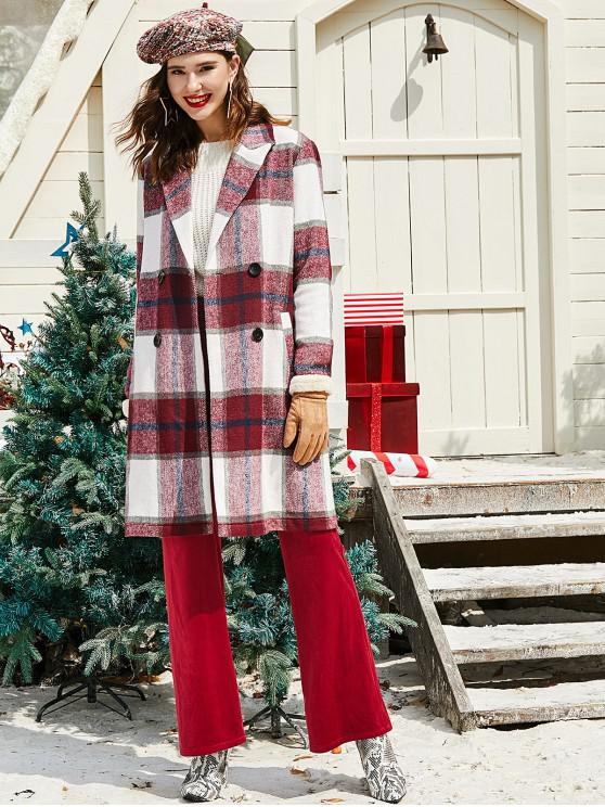 women ZAFUL Christmas Plaid Double Breasted Wool Blend Coat - RED WINE S