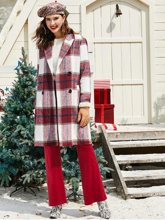 ZAFUL Natale Plaid doppio petto cappotto misto lana - Vino Rosso XL