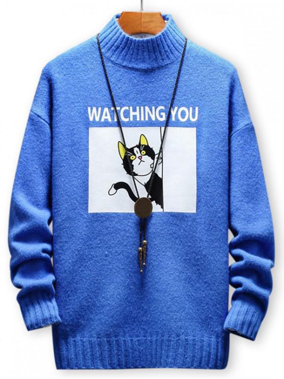 best Cartoon Cat Letter Printed Pullover Sweater - DODGER BLUE XL