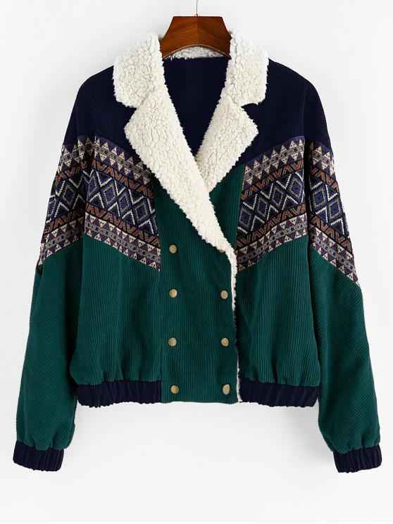 women ZAFUL Double Breasted Tribal Print Faux Shearling Panel Corduroy Jacket - MEDIUM SEA GREEN S