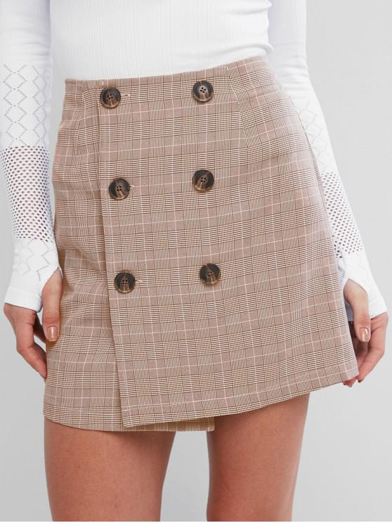 outfits ZAFUL Houndstooth Plaid Button Fly Bodycon Skirt - SEPIA M