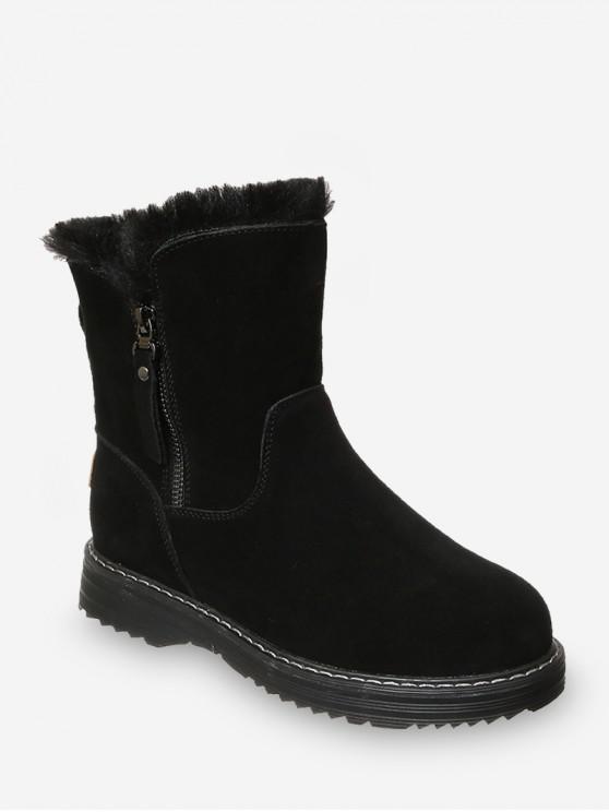 shop Side Zip Mid Calf Snow Boots - BLACK EU 35