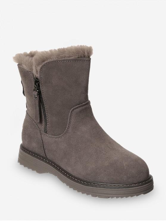 trendy Side Zip Mid Calf Snow Boots - LIGHT KHAKI EU 36