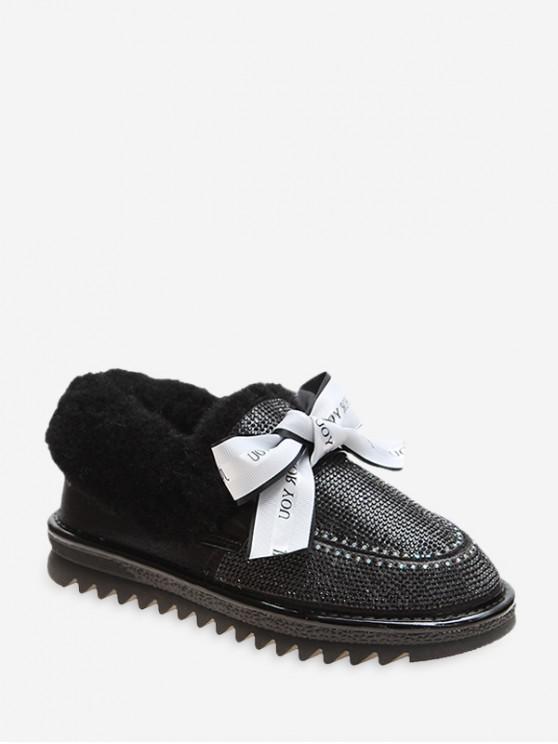 fashion Sweet Bowknot Shiny Rhinestone Snow Boots - BLACK EU 36