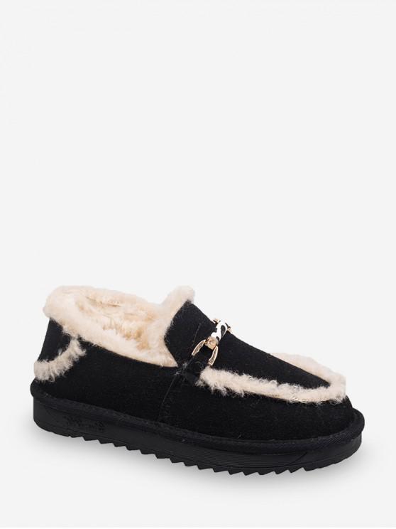 fancy Metal Accent Fuzzy Trim Comfortable Snow Boots - BLACK EU 36