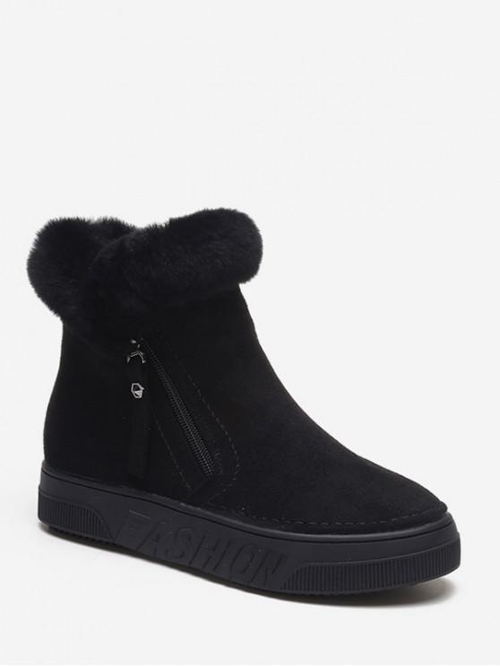 ladies Side Zip Fuzzy Trim Ankle Boots - BLACK EU 38