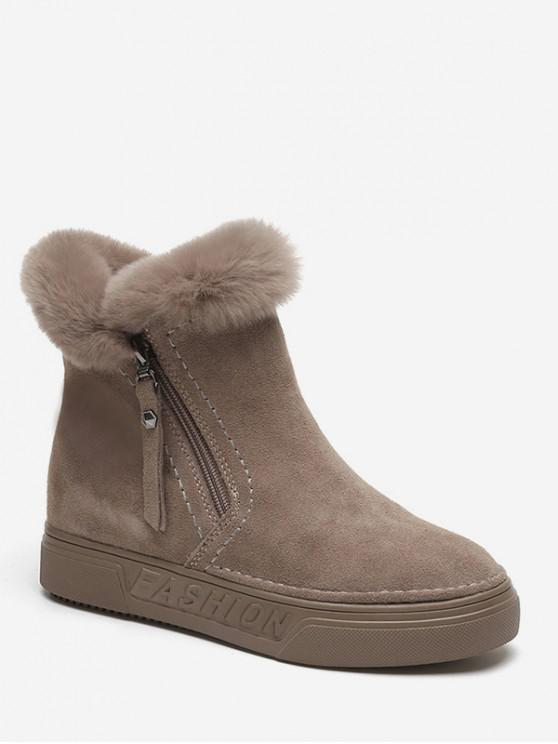 outfit Side Zip Fuzzy Trim Ankle Boots - LIGHT KHAKI EU 37